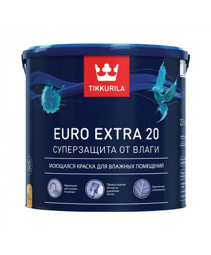 Краска для влажных помещений Tikkurila Euro Extra 20