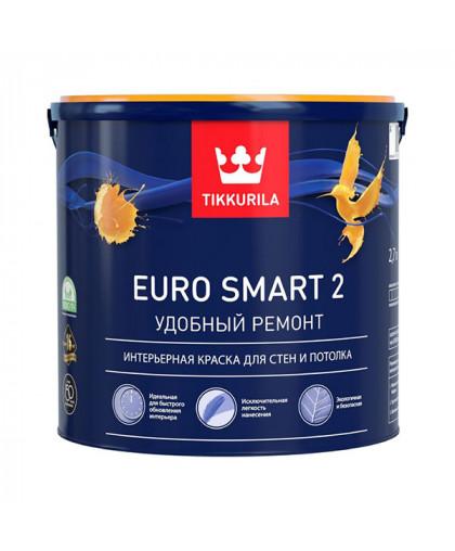 Матовая краска Tikkurila Euro Smart 2 - быстрое обновление стен и потолков
